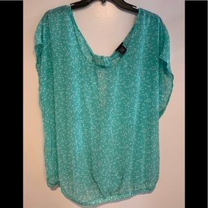 Mint Bow/open back blouse